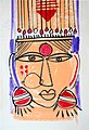 Woman's head with ear rings, 2. Traditional wall painting by villagers, near Katni, M.P., India.jpg