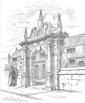 Wright's Almshouses, Nantwich - Victorian engraving of the gateway, with almsman William Bramhall in the traditional dress