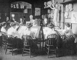 Yale School of Art - Students taking a drawing course in Street Hall circa 1905