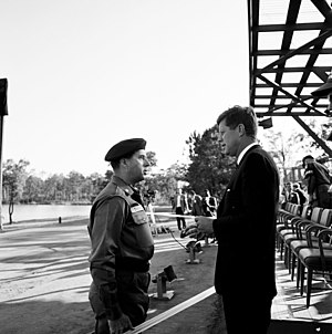 William P. Yarborough - Then Brigadier General Yarborough meeting with President John F. Kennedy at Fort Bragg, October 12, 1961.