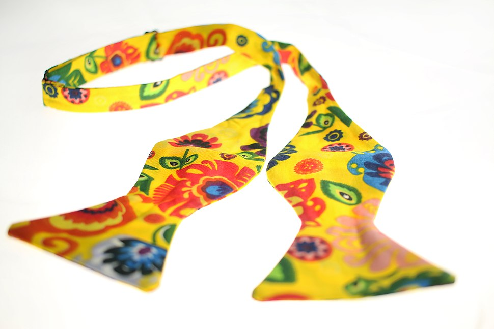 Yellow self tie cotton bow tie, designed and made in the UK