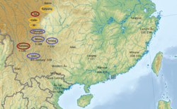 Dian and the southwestern barbarians in the early Han period. Red means nomadic, yellow is semi-nomadic, and purple is sedentary.