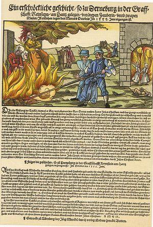 Derenburg witch trials - Hexenverbrennung in Derenburg am Harz; Popular print from Nürnberg, by Jörg Merckel, 1555