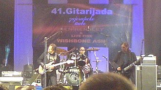 Sead Lipovača - Lipovača (left) performing with Divlje Jagode at Gitarijada festival in 2007