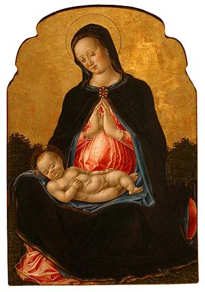 Bartolomeo Vivarini - Madonna and Child, tempera and gold on panel painting by Bartolomeo Vivarini, c. 1475, Honolulu Museum of Art