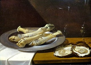 Pig's Knuckles on a Pewter Plate with Oysters and Wine Glasses on a Draped Table
