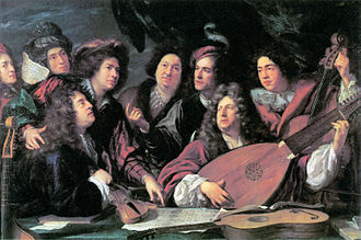 Jean-Baptiste Lully - Image: 'Portrait of several musicians and artists' by François Puget 1688 Brunel 1980 p 31