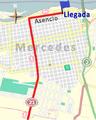 Últimos kilómetros de la primera etapa de la Vuelta Ciclista Chaná 2015.png