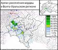 Ареал расселения мордвы в Волго-Уральском регионе. По данным Всероссийской переписи населения 2010 года..png