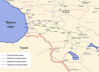 Transcaucasus Railway - Image: Схема Закавказской жд