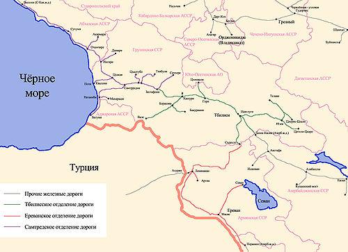 Схема Закавказской железной дороги по состоянию на 1 января 1967 года.