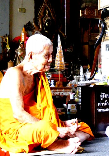 Buddhist Meditation Monk in Wat Huai Chalong R...