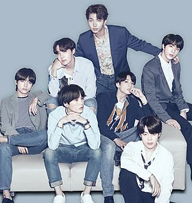 BTS for LG Electronics in 2018 Clockwise, from left: V, J-Hope, RM, Jin, Jimin, Jungkook, and Suga