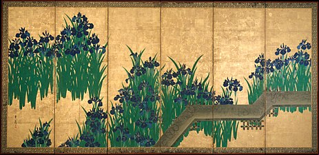 八橋図屏風 -Irises at Yatsuhashi (Eight Bridges) MET DT230.jpg