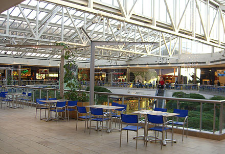 the second floor food court as seen in 2009 in the background on the