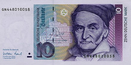 German 10-Deutsche Mark Banknote (1993; discontinued) featuring Gauss 10 DM Serie4 Vorderseite.jpg