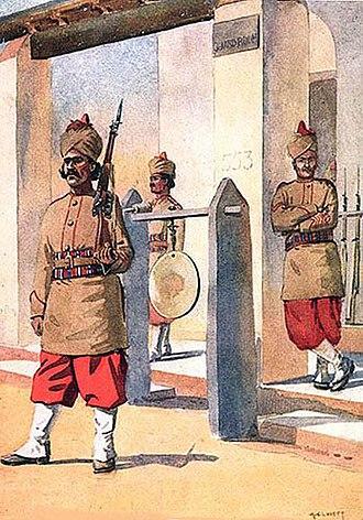 124th Duchess of Connaught's Own Baluchistan Infantry - Image: 124th Baluchistan Infantry, watercolour by Maj AC lovett, 1910 2