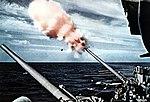 127 mm anti-aircraft guns firing aboard USS Oriskany (CVA-34), in 1956.jpg