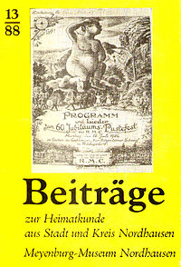 Beiträge zur Heimatkunde aus Stadt und Kreis Nordhausen (Heft 13/1988) (Cover)