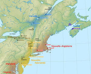 French colonization of the Americas - Political map of the Northeastern part of North America in 1664.