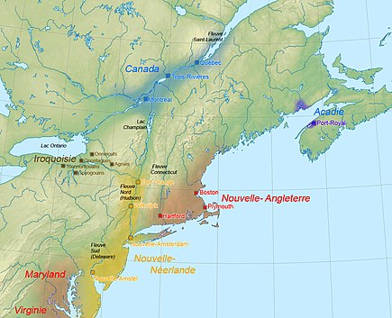 Political map of the northeastern part of North America in 1664 1664AmeriqueNord.jpg
