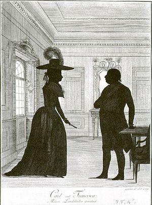 Franziska von Hohenheim - Franziska and Charles Eugene, engraving by Johann Friedrich Knisel, 1787