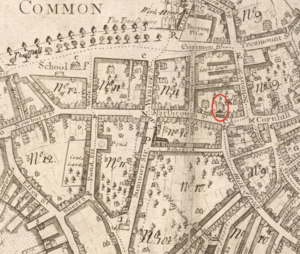 Province House (Boston, Massachusetts) - Area of Province House in Boston; detail of 1743 map