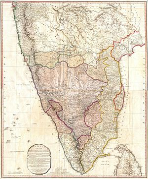 Anglo-Mysore Wars - Image: 1793 Faden Wall Map of India Geographicus India faden 1793