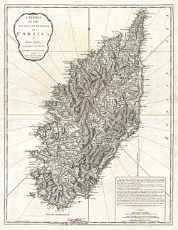 "1794 map of the ""Island and Kingdom of Corsica"""