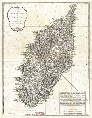 "Anglo-Corsican Kingdom - 1794 map of the ""Island and Kingdom of Corsica"""