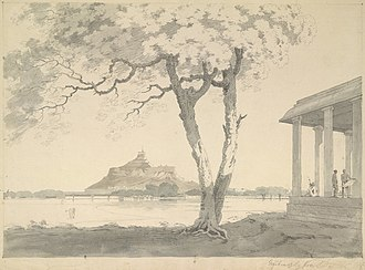 Choultry - Image: 1806 painting of Srirangam from across the river, a Hindu temple pilgrim rest house choultry on right, Tamil Nadu India