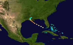 1856 Atlantic hurricane season - Image: 1856 Last Island hurricane track