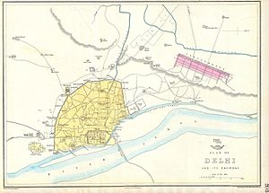 History of Delhi - Historic map of Shahjahanabad (now known as Old Delhi), in 1863