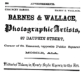 1875 Barnes and Wallace photographers advert Dauphin Street in Mobile Alabama.png