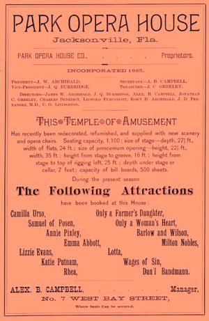 Timeline of Jacksonville, Florida - Image: 1886 Park Opera House advert Jacksonville Florida