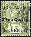 1890 Five c Ceylon used Yv125 Mi110 SG233.jpg