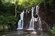 玉簾の滝。所在地は神奈川県箱根町の天成園。
