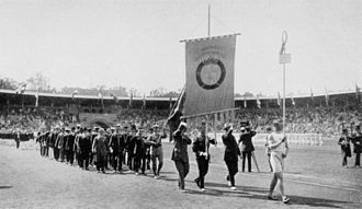 The Swedish team parading in the stadium during the opening ceremony 1912 Opening ceremony - Sweden.JPG