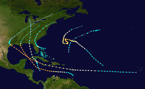 1915 Atlantic hurricane season - Image: 1915 Atlantic hurricane season summary map