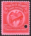 1916 50c Colombia specimen revenue stamp.jpg
