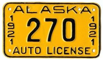 Vehicle registration plates of Alaska - Image: 1921 Alaska license plate