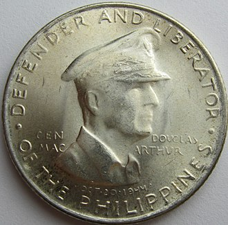 MacArthur was the subject of two different legal tender commemorative coins in the Philippines in 1947. Filipino coins of MacArthur were also struck in 1980, the 100th anniversary of his birth and in 2014, the 70th anniversary of the Leyte landings. 1947smacarthurcommcam.jpg