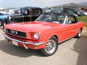 1966 red Ford Mustang convertible front side.JPG