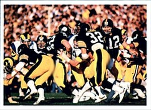 Super Bowl XIV - Bradshaw (12) handing the ball to Franco Harris in Super Bowl XIV