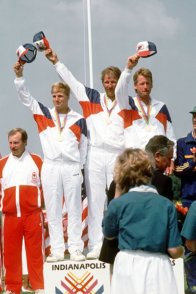 A medal ceremony during the 1987 Pan American Games in Indianapolis. 1987 Pan American Games - U.S. trap shooting team.JPEG