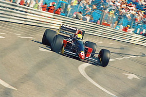 Fondmetal - Andrea Chiesa driving the GR01 during the Thursday practice session for the 1992 Monaco Grand Prix.