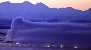 Ice fog - Ice fog over Fairbanks, Alaska in winter 2005. Temperature approximately minus 30F. Note the mirage at the base of the Alaska Range