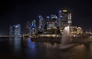 Merlion - The Merlion Park viewed with the Singapore skyline in the background