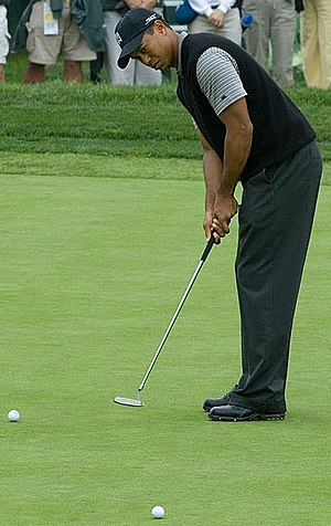 Tiger Woods putting on the 8th green at Torrey...