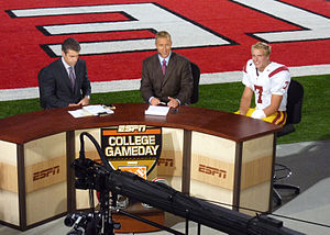 Matt Barkley - Barkley during a post-game interview with ESPN College GameDays Chris Fowler (left) and Kirk Herbstreit (center) in Ohio Stadium
